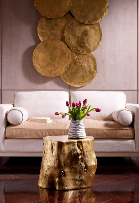 Large Log Stool, Goldleaf