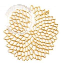 Chilewich Dahlia Coasters (set of 6) Gold Coaster (5'' x 5'')