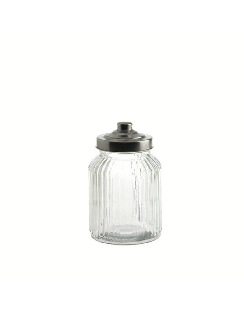 "Fortessa LPB Tuscania Ribbed.Glass Container 4.25x7"" (11x17cm) 32oz ("