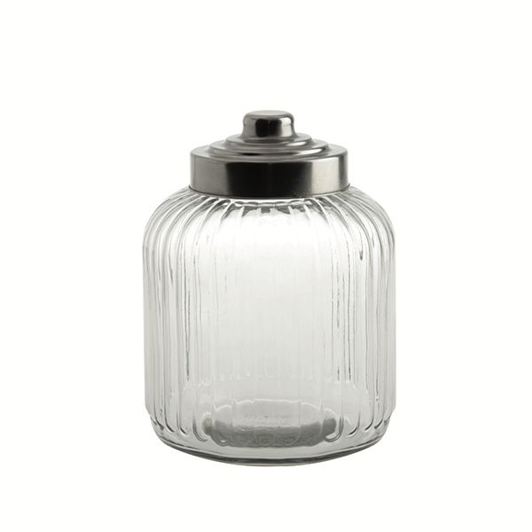 "LPB Tuscania Ribbed.Glass Container 7x9.5"" (18x24cm) 125oz ("