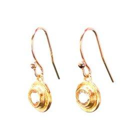 Avindy Topaz Bezel Earrings, Gold