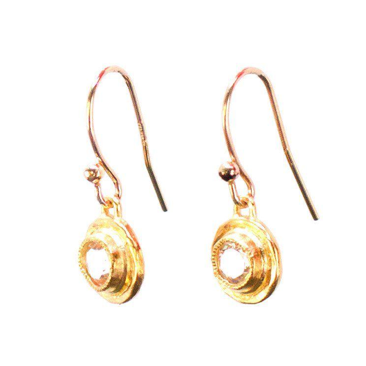 Topaz Bezel Earrings, Gold