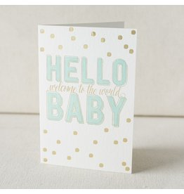 Hello Baby letterpress and foil card