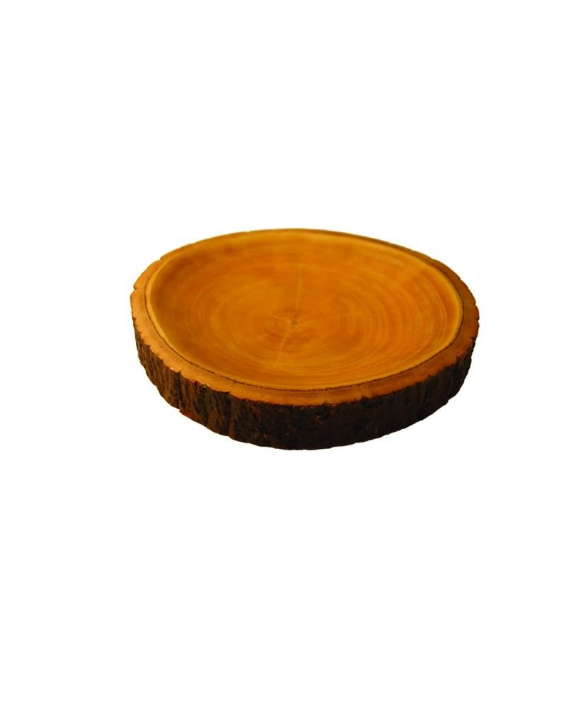 Be Home Mango Wood Plate with Bark Medium
