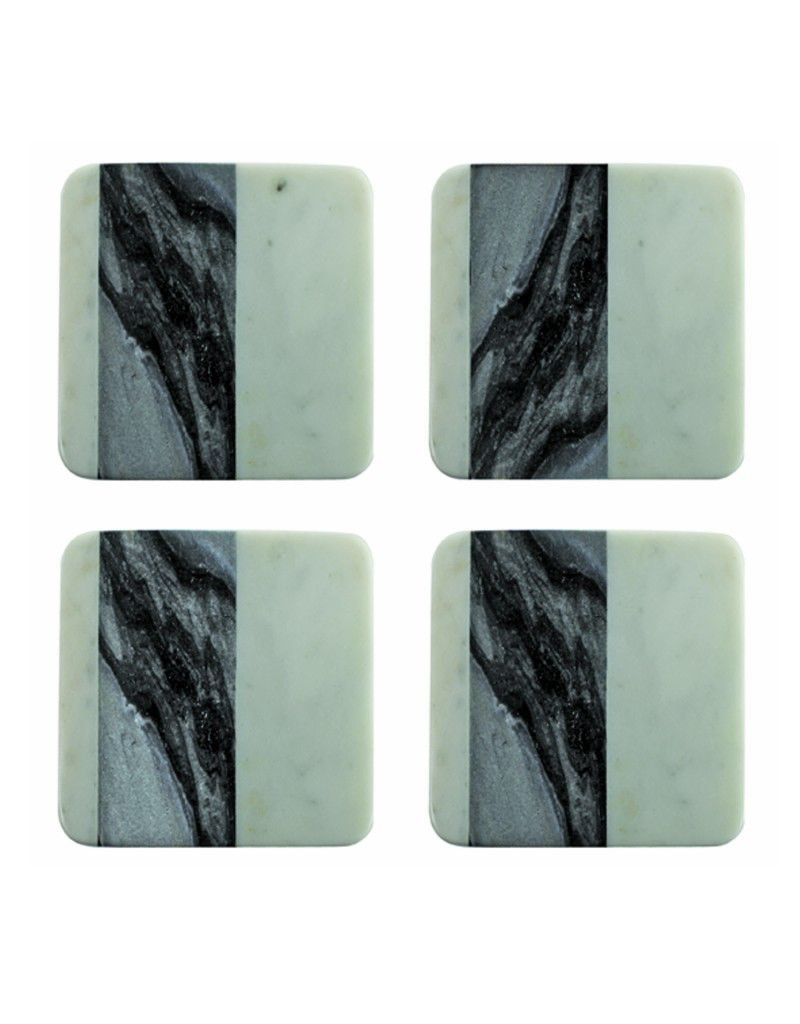 Be Home White and Blue/Grey Marble Set of 4 Square Coasters