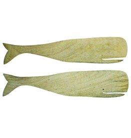 Be Home Natural Mango Wood Whale Server Set