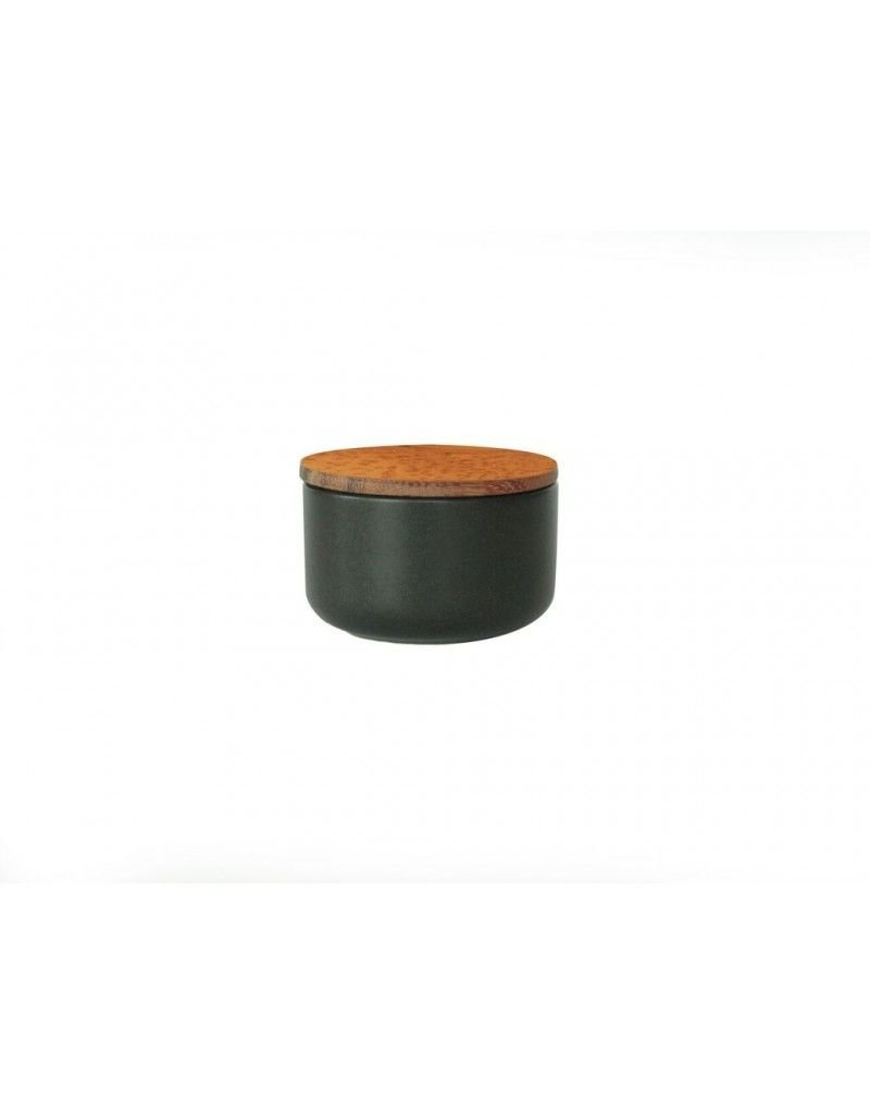 Be Home Stoneware Container with Acacia Lid, Extra Small, Black