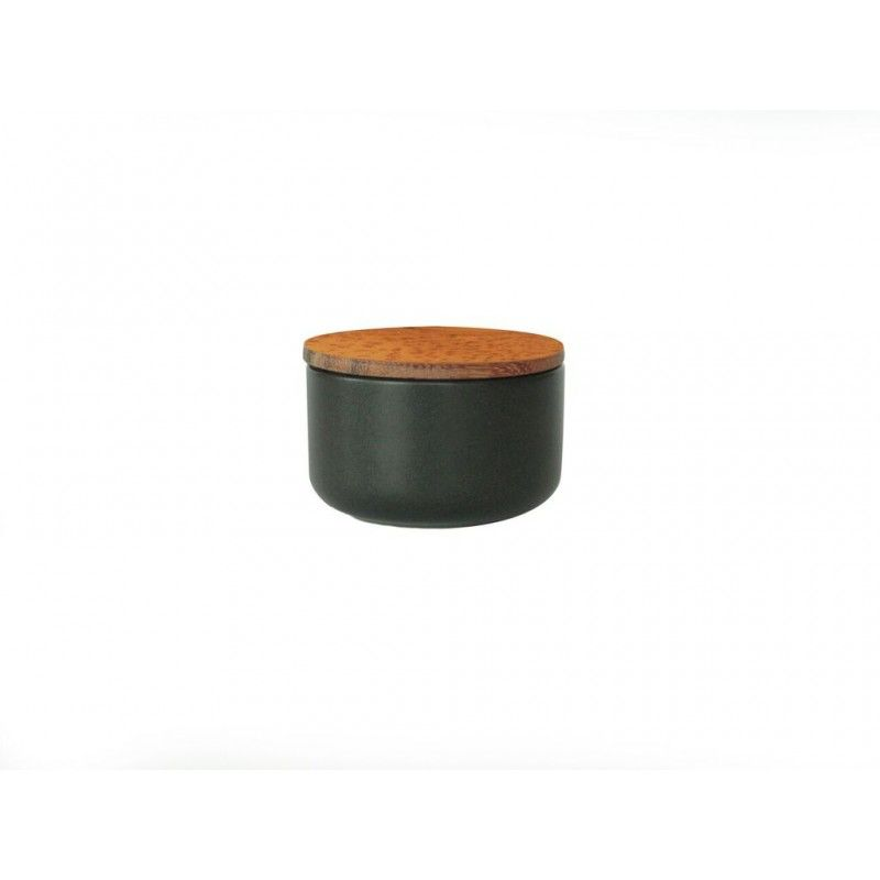 Stoneware Container with Acacia Lid, Extra Small, Black