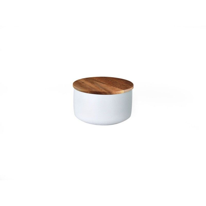 Stoneware Container with Acacia Lid, Extra Small, White