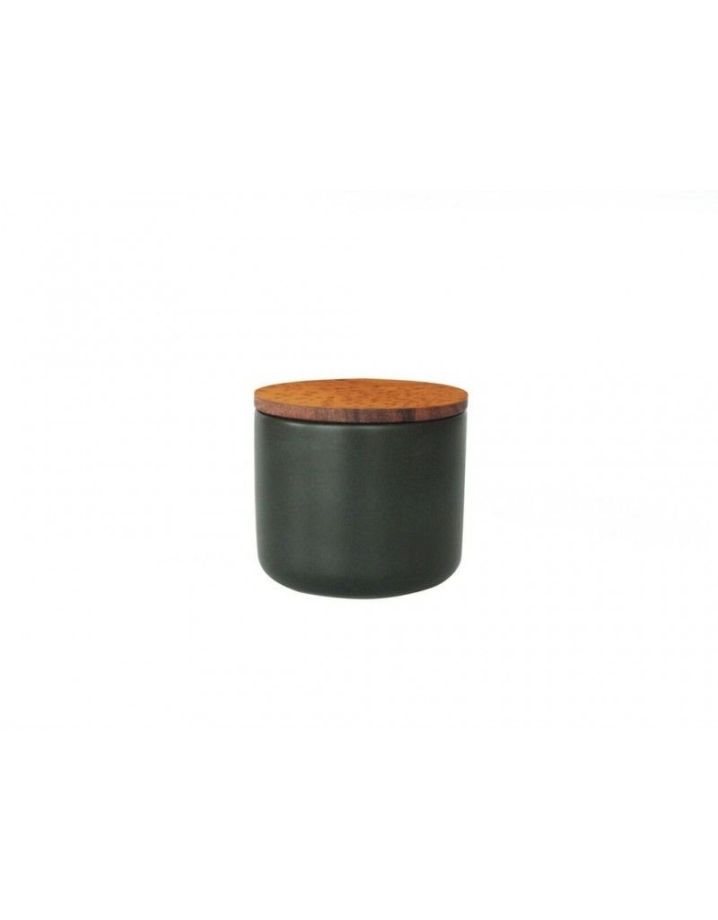 Be Home Stoneware Container with Acacia Lid, Medium, Black