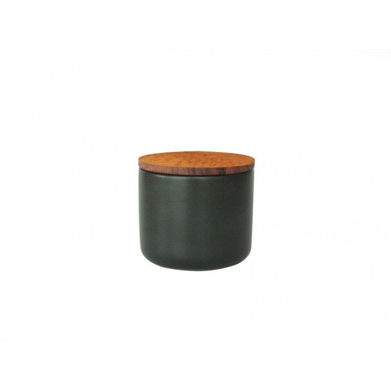Stoneware Container with Acacia Lid, Medium, Black
