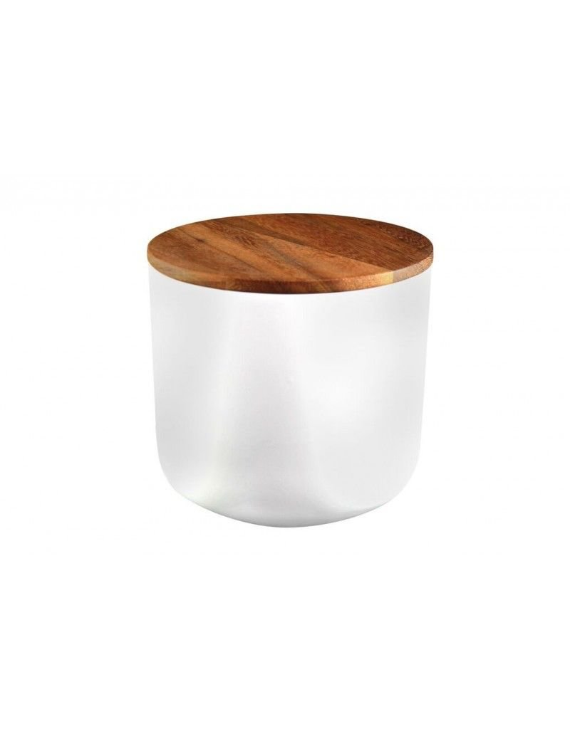 Be Home Stoneware Container with Acacia Lid, Large, White