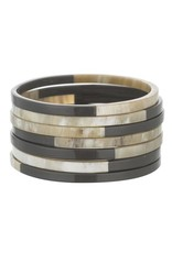 Charcoal Buffalo Horn Bangles, Set of 7