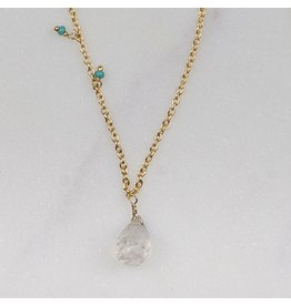 Zenza Delicacy Necklace, Gold and Faceted Moonstone