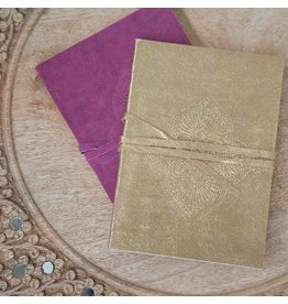 Zenza Suede Notebook, Small Gold