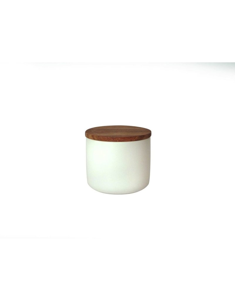 Be Home Stoneware Container with Acacia Lid, Medium - White