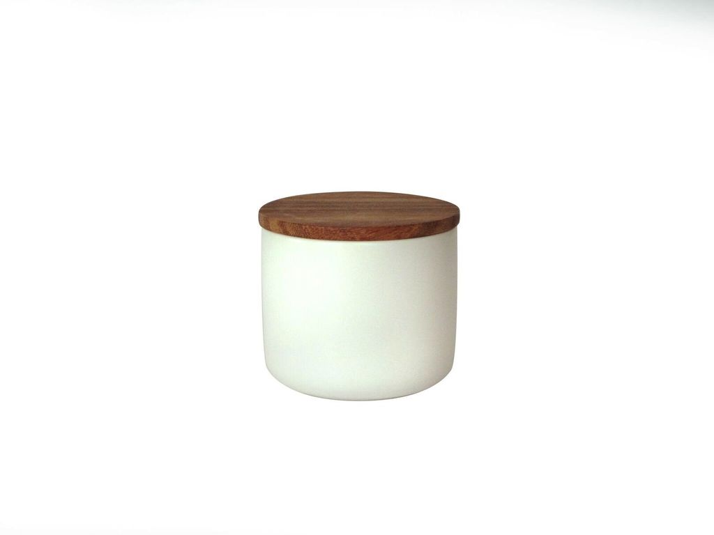 Stoneware Container with Acacia Lid, Medium - White