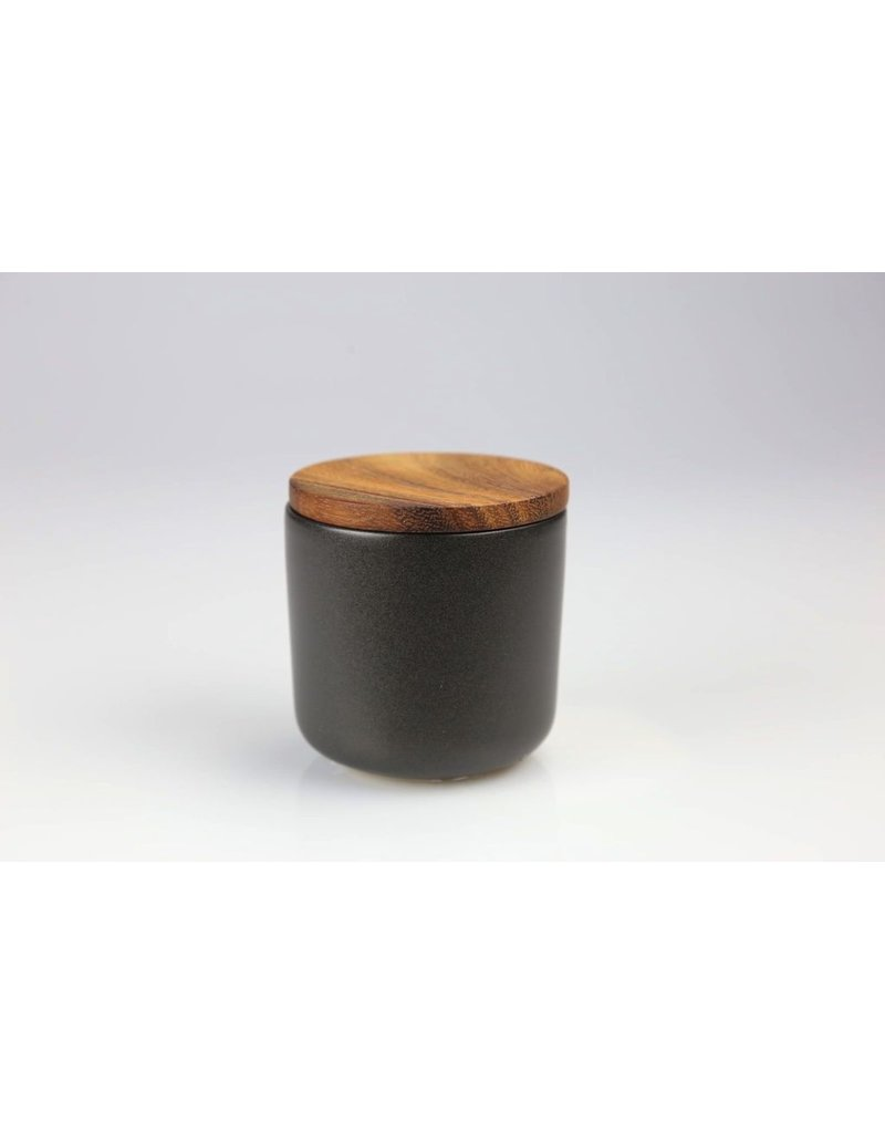 Be Home Stoneware Container with Acacia Lid, Small - Black