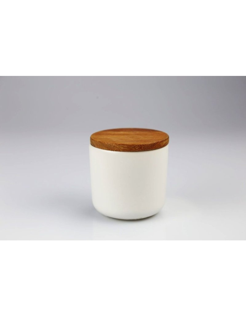 Be Home Stoneware Container with Acacia Lid, Small - White