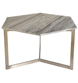 VARGO HEX COFFEE TABLE GRAY MARBLE<br /> Depth: 18<br /> Height: 32
