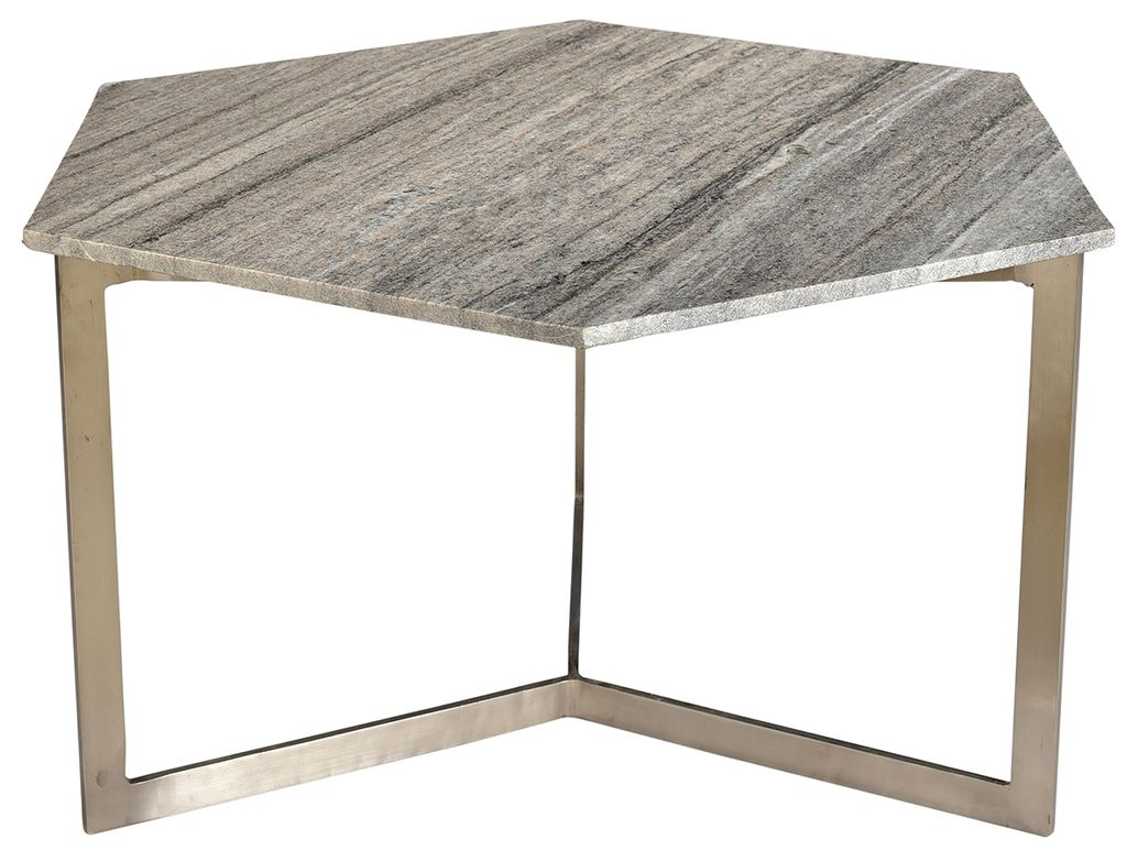 VARGO HEX COFFEE TABLE GRAY MARBLEu003cbr /u003e Depth: 18u003cbr /