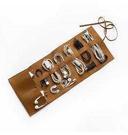 Brouk Vegan Leather Travel Cord Roll - Brown
