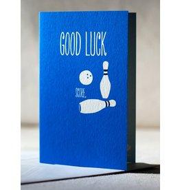 """Offset card- """"Good Luck - Score."""""""