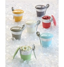 Lunares Ice Cream Holder with Scoop-Pint, Silver