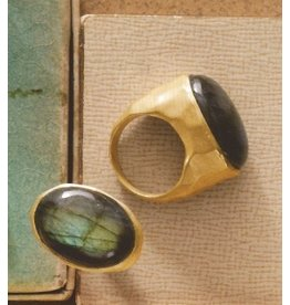 Roost Smoky Topaz Dome Vermeil Ring, Size 7