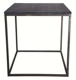 Noir Landon Side Table with Stone