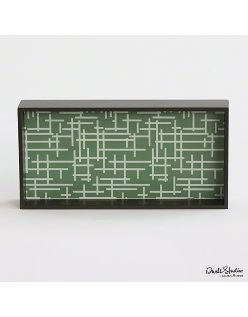 Global Views Criss Cross Laquered Wood Tray