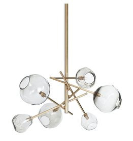 Molten Chandelier, Brass - Smoke Glass
