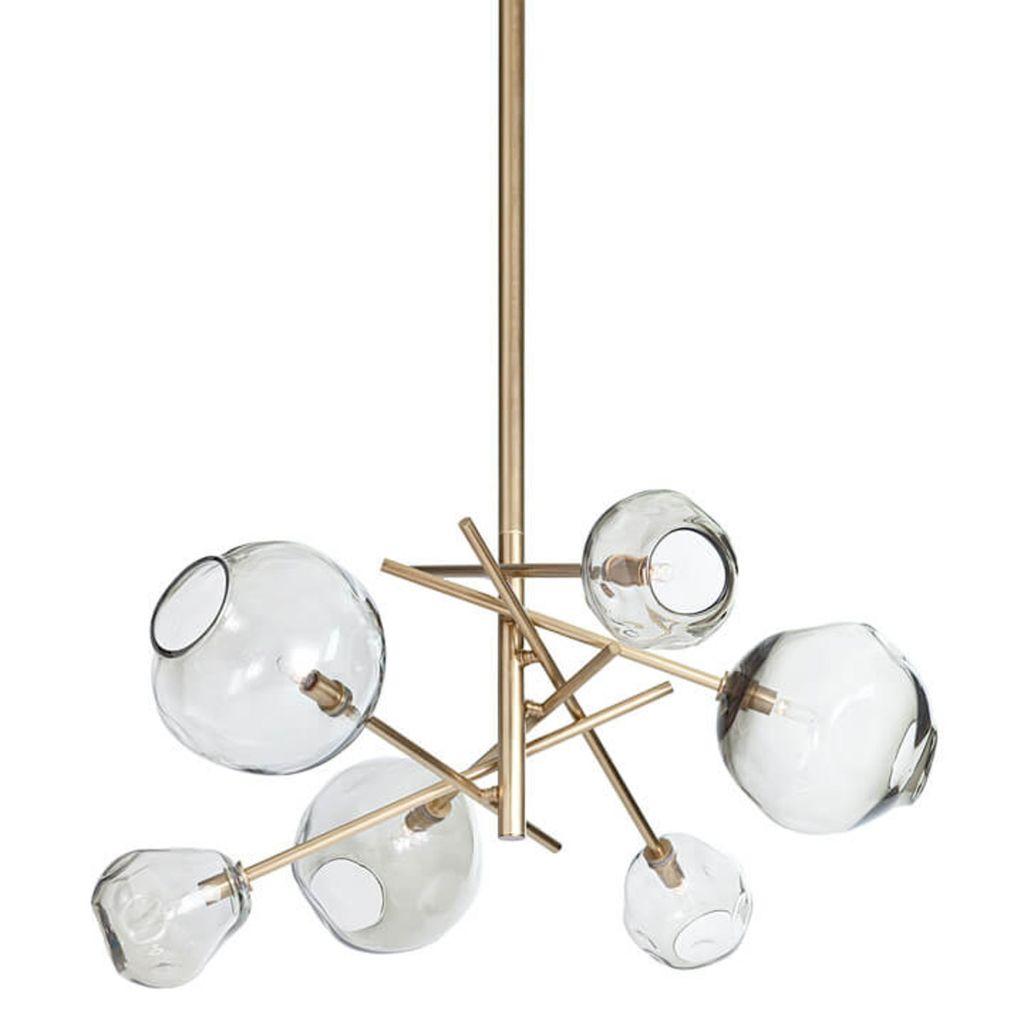 Molten Chandelier, Brass - Smoke Glass