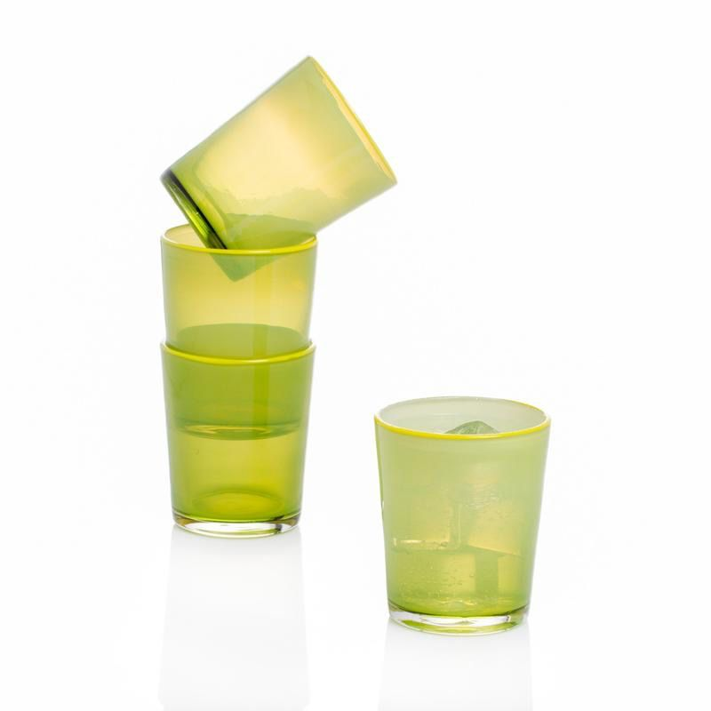 Summer Glass LIME Set of 4