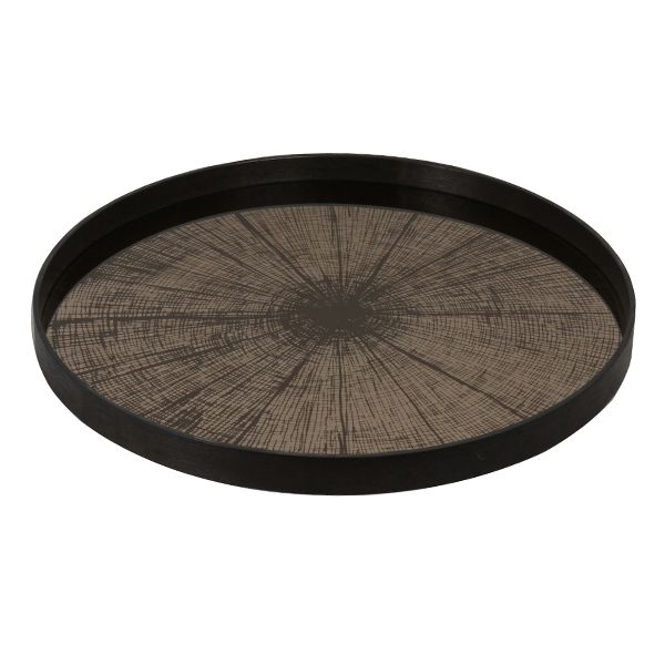 Large Bronze Slice Mirror Tray