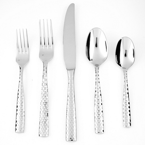SS Lucca Faceted 5pc Place Setting, Boxed
