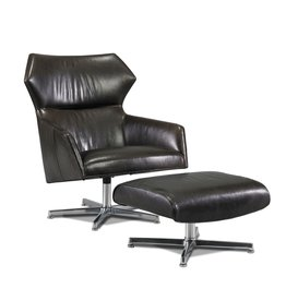 Precedent Sebastian Swivel Chair and Ottoman, Reynolds Pewter Leather