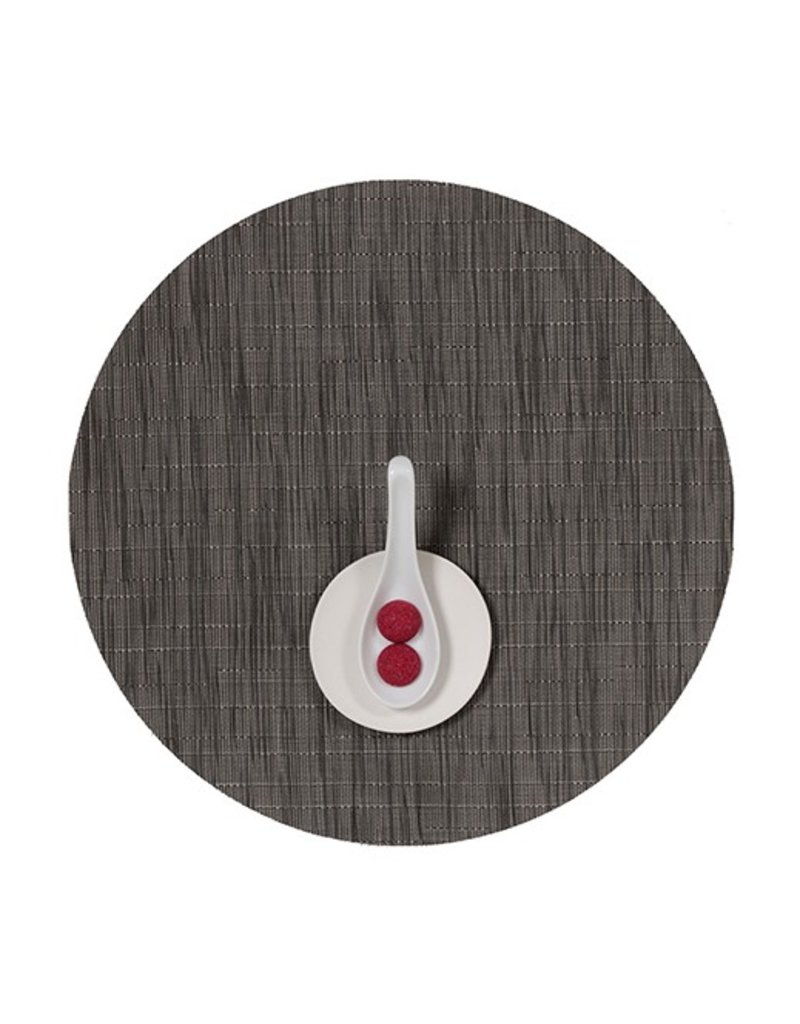 Chilewich Bamboo Table Mat 15 Round GREY FLANNEL