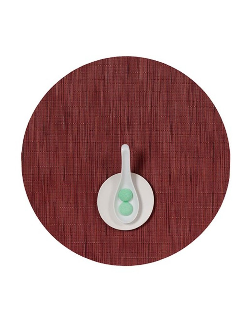 Chilewich Bamboo Table Mat 15 Round CRANBERRY