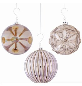 GLASS GEOMETRIC ORNAMENT, GRAY/PLATINUM