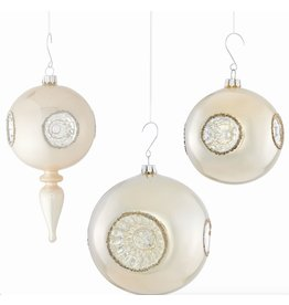 GLASS REFLECTOR ORNAMENT, PEARL