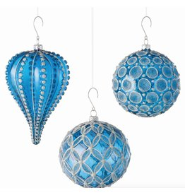 GLASS GEOMETRIC ORNAMENT, BLUE/SILVER