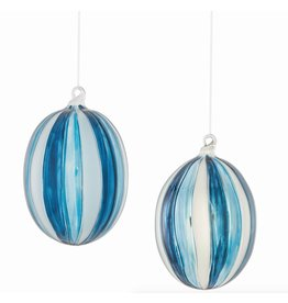 Napa Home and Garden GLASS OVAL STRIPED ORNAMENT, BLUE/SILVER