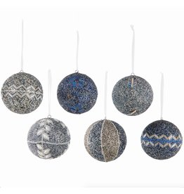 Napa Home and Garden BEADED & JEWELED BALL ORNAMENT, BLUE/PLATINUM