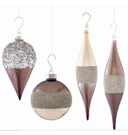 Napa Home and Garden GLASS MODERN GLITTERED ORNAMENT, TAUPE