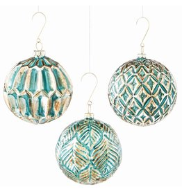 Napa Home and Garden GLASS ORNATE BALL ORNAMENT, FRENCH GRAY