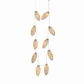 "GLASS PINE CONE STRING LIGHTS 88"", Silver Frost"