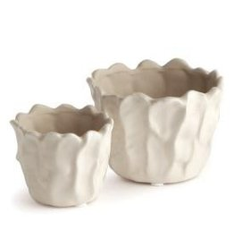 Napa Home and Garden CABBAGE CACHEPOT, WIDE WHITE