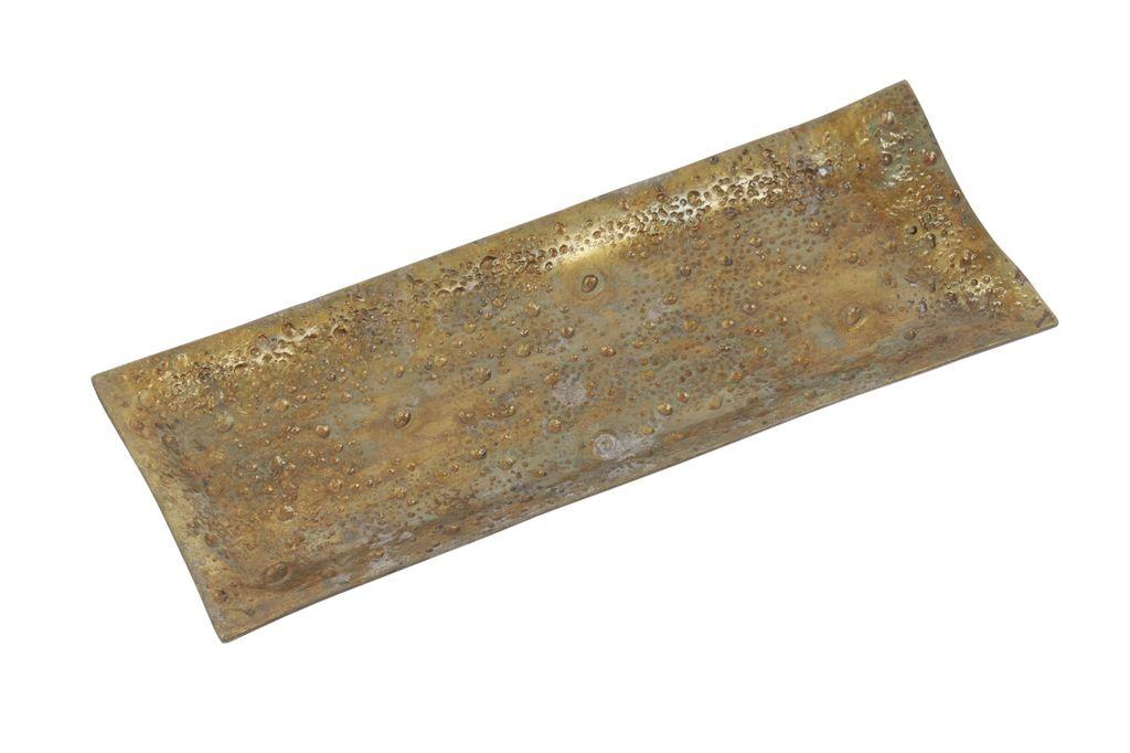 Large Rough Cast Aluminum Rectangular Tray Brass