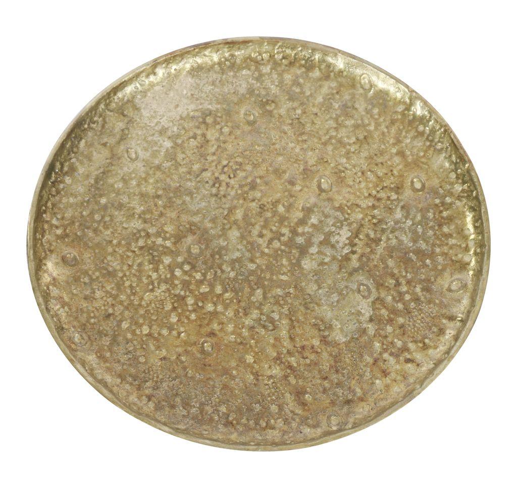 Med. Rough-Cast Alum Round Tray Brass